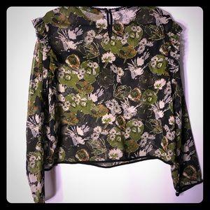 Zara Basic Collection|•|•| Floral print sheer Top